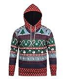 Honeystore Herren Damen 3D Druck Sweatshirts Weihnachten Pullover mit Aufdruck Herbst Hemd Kapuzenpullover Langarm Top Jumper Shirt Stock M