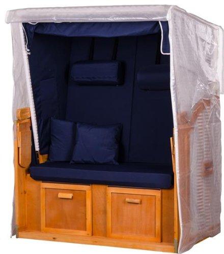 Mr. Deko Strandkorbhülle PVC Zweisitzer Größe M transparent - Hülle - Regenhaube - Strandkorb - Schutzhülle - einfache Montage - Polyester - Abdeckplane - Strandkörbe (Zweisitzer)