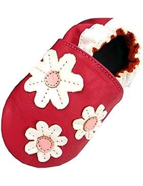 MiniFeet Weiche Leder Babyschuhe Krabbelschuhe - Baby Mädchen - Neugeborene bis 2-3 Jahre - Gänseblümchen