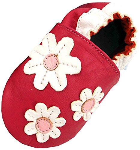 MiniFeet Premium Weich Leder babyschuhe 0-6, 6-12, 12-18, 18-24 Monate und 2-3, 3-4 Jahre Gänseblümchen