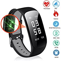 Slim Touch Screen Fitness Tracker, IP67 Waterproof Heart Rate Monitor Tracker Smart Bracelet Activity Tracker Bluetooth Pedometer with Sleep Monitor Smart Watch for Android and iPhone