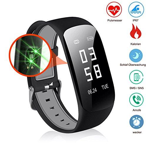 Slim Touch Wasserdicht Fitness Armbänder mit Pulsmesser,Smart Fitness Tracker mit Herzfrequenzmesser, Schrittzähler, Schlaf-Monitor, Aktivitätstracker,Anrufen / SMS, für Android iOS Smartphone