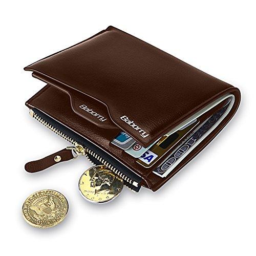 Expresstech @ RFID Schutz Brieftasche RFID-Schutzhülle PU Leder mit Münztasche für Männer Herren Geldbörse mit abnehmbare Kreditkarte Halter, Braun (Brieftasche Schwarz Geldbörse)