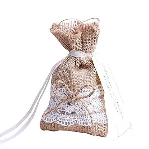 Lance Home® 30pcs sachets en jute naturel avec nœud et dentelle pour décoration de mariage thème naturel (ruban avec étiquette inclus)