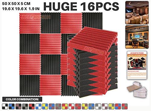 ace-punch-16-pieces-rouge-et-noir-wedge-studio-foam-panel-isolation-sonore-traitement-acoustique-iso