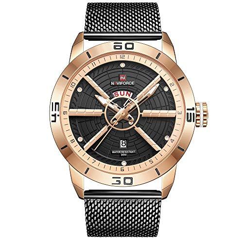 Armbanduhren,Quarz-Mesh-Uhr Mit Automatischer Datums-Mode-Uhr MEI Gold Shell Black Netzgürtel -