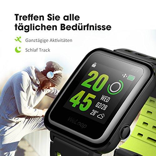 GPS Sportuhr, OMORC Fitness Activity Tracker Bluetooth Smartwatch Herzfrequenz Schlaf Monitor 5ATM wasserdicht Laufen Schwimmen Radfahren Armbanduhr mit anpassbaren Zifferblätter