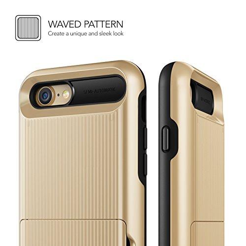 Cover iPhone 8 / iPhone 7, VRS Design® Custodia [Argento Satinato] Antiurto Folding Wallet [Damda Folder] Case per Carte di Credito Perfetto Protezione per Apple iPhone 8 (2017) / iPhone 7 (2016) Oro