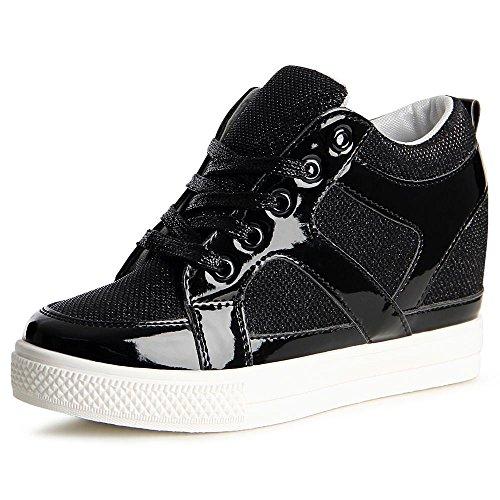 topschuhe24 841 Damen Sneaker Keilabsatz Hidden Wedges Schwarz
