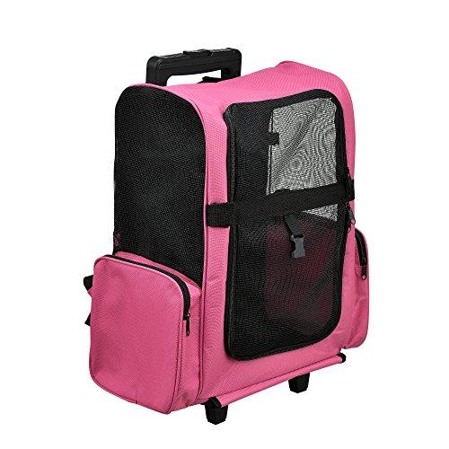 [pro.tec] Mochila / carrito para perros 2 en 1 - transportín para perros y gatos (rosa) - con 4 ruedas