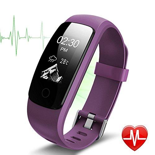 Bracelet Sport Activité Montre Connectée Avec GPS, NickSea Etanche IP67 Fitness Tracker d'Activité Bluetooth avec Cardiofréquencemètres, Podomètre, Distance, Calorie, Notification Appel & SMS - Violet