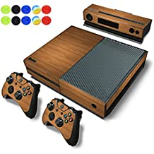 Skin for XBOX ONE, Morbuy Vinilo Consola Design Foils Pegatina Sticker And 2 XBOX ONE Controlador & Kinect Skins Set + 10pc Silicona Thumb Grips (Madera Marrón)