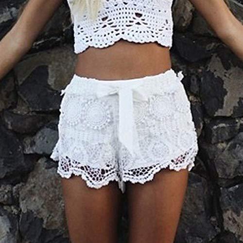 Faul Kostüm Etwas - JIUJIUYITECH Frauen-elastische Taillen-Spitze-Kurzschluss-Strand-beiläufige Normallackhosen (Color : WH, Größe : S)