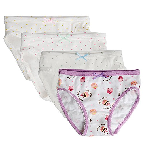 Kidear Kids Series Comfy Cotton Baby Underwear Little Girls' Assorted Briefs Panties with Bow-Knot