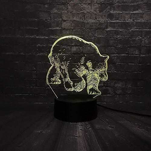 3D Led Nachtlicht Tier Schwarzer Bär Usb Lampe Schlaf Licht 7 Farbwechsel Weihnachtsgeschenk Usb Base Batterielampen Für Kinder -