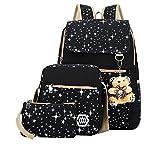 Lsv-8 Mädchen Segeltuch Schulrucksack Schultertasche Rucksack Reisetasche Geldbeutel Laptop-Rucksack + Messenger Bag + Purse 3pcs Schwarz