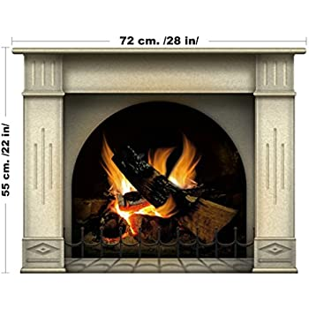 Nice Amazing Fireplace With Log Fire Wall Art Interior Design Decal   Large Size  Custom Sizing Available
