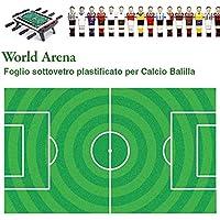 Calcio Balilla cartoncino sotto vetro universale World Arena, plastificato resistente ai raggi UV.