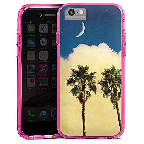 Apple iPhone 6s Plus Bumper Hülle Bumper Case Glitzer Hülle Palmen Wolke Cloud Bumper Case transparent pink