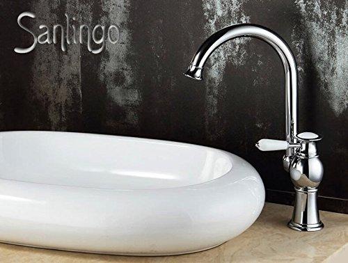 Serie AIKO Retro Bad Waschbecken Waschtisch Einhebel Armatur Wasserhahn Schwenkbar Chrom Sanlingo