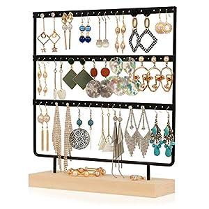 QILICZ Schmuckständer Ohrringständer 100 Löcher Ohrringhalter, 5 Tier Metal Ohrring Organizer mit Holz Base, Weiß…
