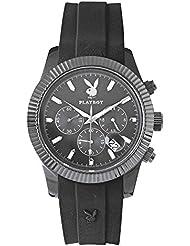 Playboy CHRP44BB - Reloj cronógrafo de cuarzo para hombre, correa de silicona color negro (cronómetro)