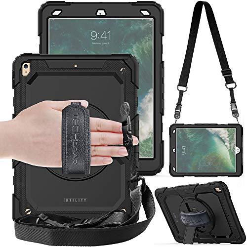 TECHGEAR Utility Hülle für iPad Air 10,5 [3. Gen 2019] & iPad Pro 10,5 Robust Heavy Duty Stoßfeste Schutzhülle mit 360 Grad Schwenkständer Hand- und Schultergurt mit eingebaut Bildschirm -Schwarz - Air Handschlaufe Ipad