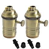 2PACK Vintage Lampe aus Messing Halter Schalter Leuchtmittel Sockel Montage Set E27mit auf/aus