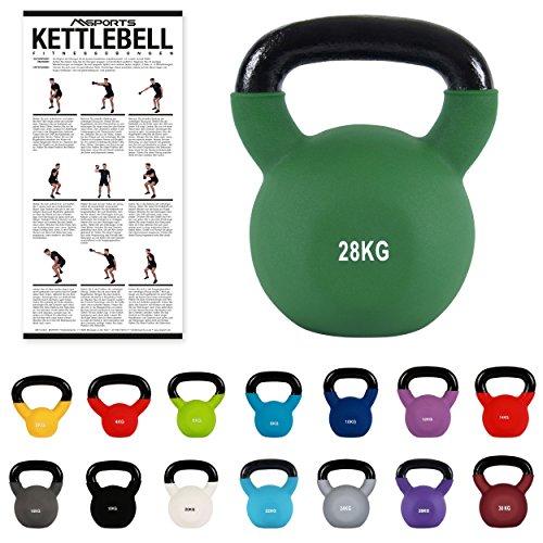 MSPORTS Kettlebell Neopren 2 - 30 kg inkl. Übungsposter Kugelhantel (28 kg - Olivgrün) (28kg Kettlebells)
