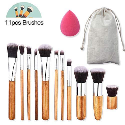 Pinceaux Maquillage Professionnel, AIDUE 11pcs Cosmétique Brush, Crème, Liquides, Poudre, Eyeliner, Cosmétique Fondation Kit de brosse avec éponge et Sac de Rangement