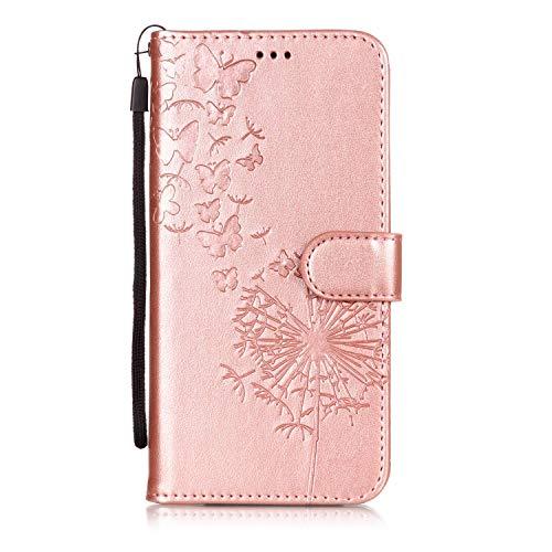 BONROY HTC U12 Plus Hülle Case,Lederhülle PU Leder Flip Tasche Handy Schutzhülle Handyhülle mit [Ständer Funktion] Kunstleder Cover- (YH-Löwenzahn Roségold)