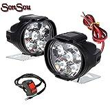 SS6FLS2 6 LED SHILAN Fog Light for Bikes Small Waterproof Black Body Spot