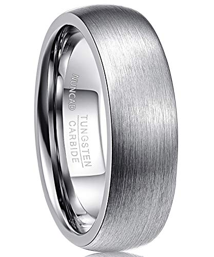 Nuncad Ring 7mm für Männer Frauen, Größe 58, Unisex Ring aus Wolframcarbid mit polierter Oberschicht, pursilbrig