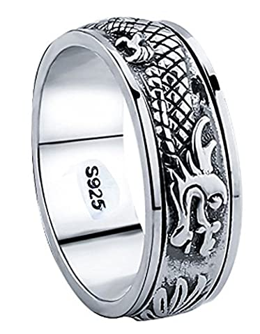 SaySure - 925 Sterling Silver Dragon Rotatable ring (SIZE : 11)