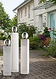 EDELSTAHL Säulen Set V2A Säule 50/60/70cm mit 100mm Edelstahlkugel Garten Deko