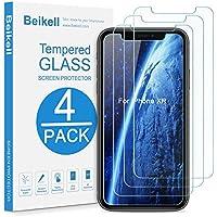 Beikell Verre Trempé pour iPhone XR, [Lot de 4] Film Protection d'écran en Verre Trempé Protecteur Vitre-Dureté 9H 2.5D Bord, sans Bulles, Anti-Rayures-pour iPhone XR 6.1 Pouces-Compatible avec Coque