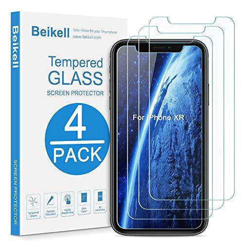 Beikell [4 Stück Schutzfolie für iPhone XR [6.1 Zoll], Displayschutzfolie mit Installationsanleitung, 9H Härte und Hohe-Auflösung, Kratzfest, Blasenfrei, Hüllenfreundlich -