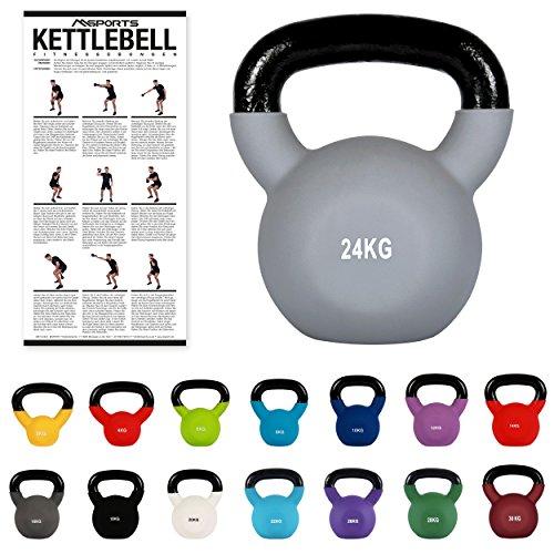 MSPORTS Kettlebell Neopren 2 - 30 kg inkl. Übungsposter Kugelhantel (24 kg - Grau)