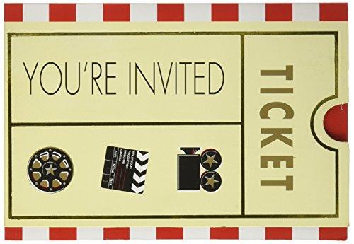Ticket Einladung zur Hollywood Party - Filmabend - 8 Stück Blister ()