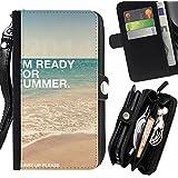 """FJCases """"I'm Ready For Summer"""" Verano Frase Carcasa Funda Monedero Con Correa y Cremallera Carcasa Funda para HTC Desire 616 Dual Sim"""