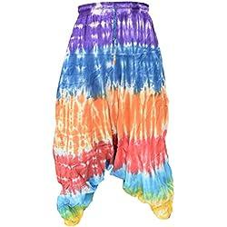 Pantalones estilo ninja, genio, Aladino, harén Little Kathmandu, pantalones de algodón ligero para hombres multicolor Rainbow Stripy Tie Dye M