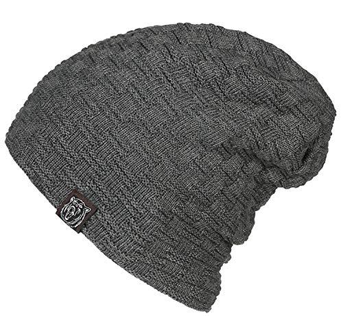 SKQC Hut, Herren Winter warme weiche Dicke Superior Acryl Polyester Slouchy Fleece gefüttert Stricken Caps (Herren Fleece Gefüttert Stricken Hut)