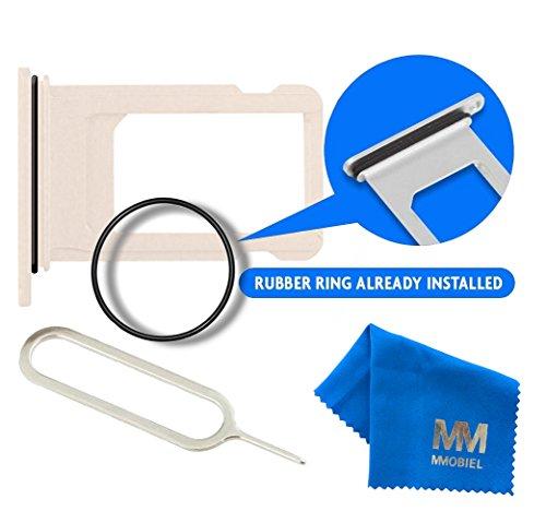 MMOBIEL Reemplazo de la bandeja de la tarjeta SIM para ranura Nano para iPhone 7 Plus 5.5 inch (Oro) incl el anillo de goma impermeable + SIM Pin + un MMOBIEL paño de limpieza