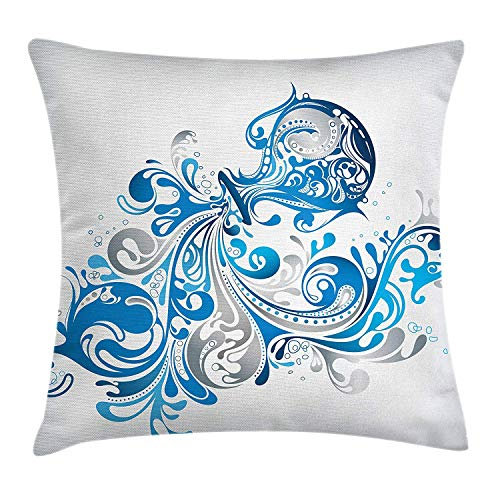 LULABE Zodiac Aquarius Throw Pillow Cushion Cover, Bucket with Ornamental Swirled Lines Artistic Scroll Horoscope, Decorative Square Accent Pillow Case, 18 X 18 inches, Silver Grey Cobalt Blue - Cobalt Blue Candy