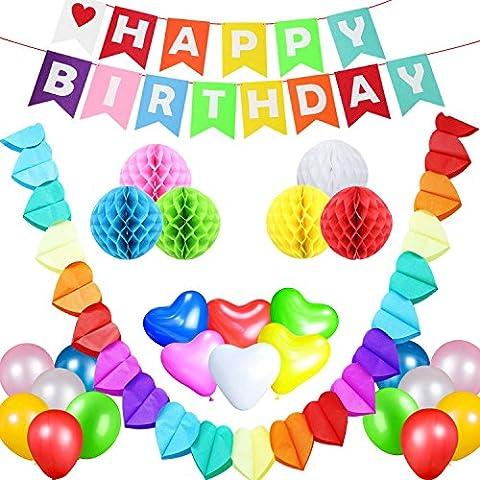 Acetek Ensemble de décorations de fête d'anniversaire, Joyeux anniversaire Bannière
