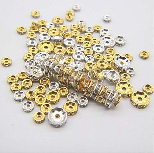 Drill Ring Spacer Lose Perlen mit Bohrer Rad Perle Abacus Perlen Perlen Kopfschmuck Gold 10 mm