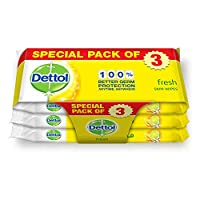 Dettol Fresh Anti-Bacterial Skin Wipes - Pack Of 10, 2+1 Free