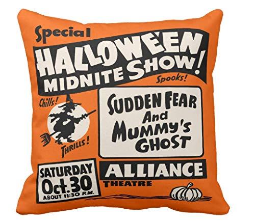 tyui7 Vintage Spook Show Poster-Halloween Midnite Show Throw Kissenbezug Platz 18 x 18 Zoll Hochzeit Kissenbezug Kissenbezug für Sofa