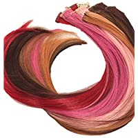 Prettyland - GHW08 Extensiones lisas en clip y mechas multicolor set de 12 piezas de 50cm de largo - conjunto 1