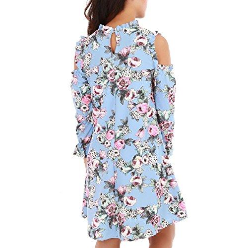 La Modeuse - Robeévaséeavec mancheslongues à froufrous Bleu Clair